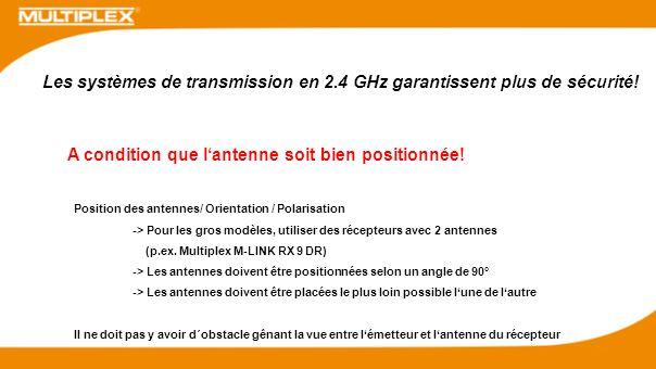 Les systèmes de transmission en 2.4 GHz garantissent plus de sécurité!