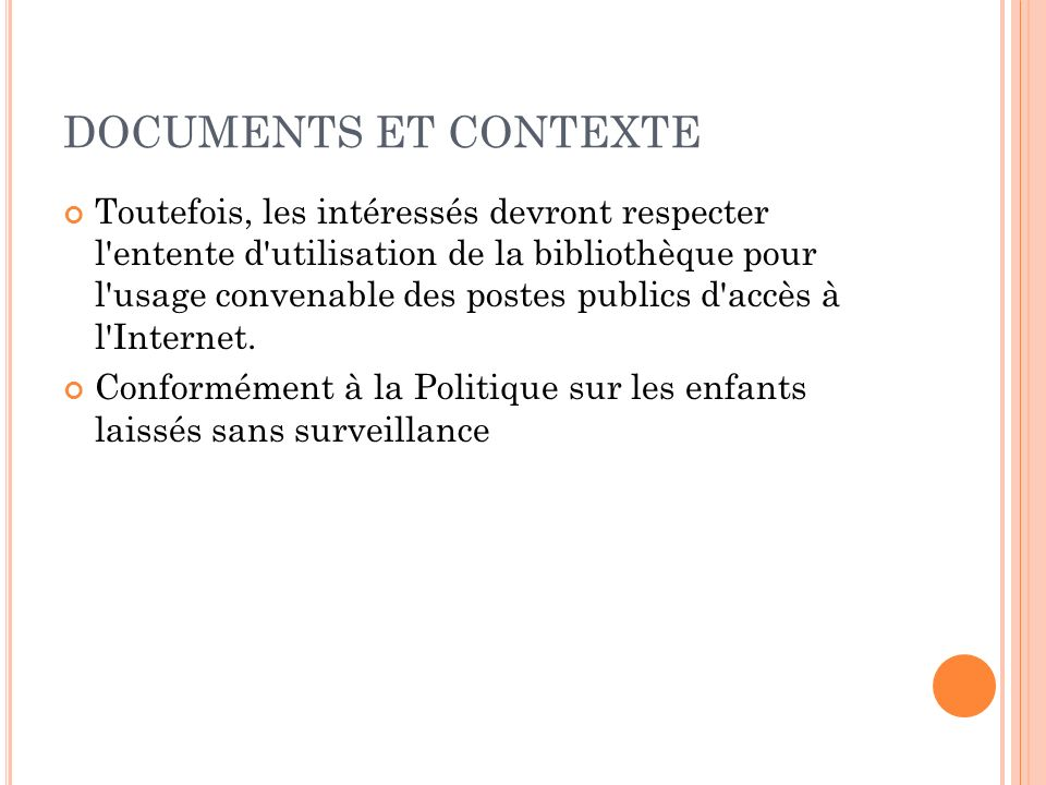 DOCUMENTS ET CONTEXTE