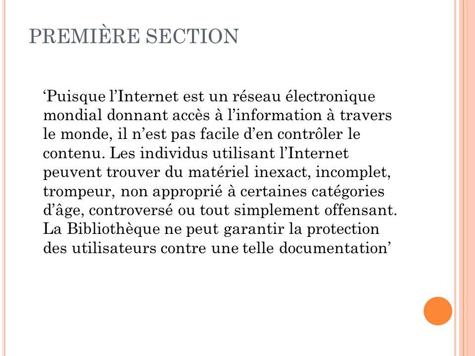 PREMIÈRE SECTION
