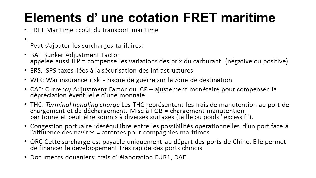 Elements d' une cotation FRET maritime