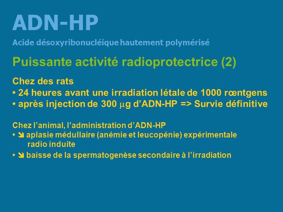 ADN-HP Puissante activité radioprotectrice (2) Chez des rats