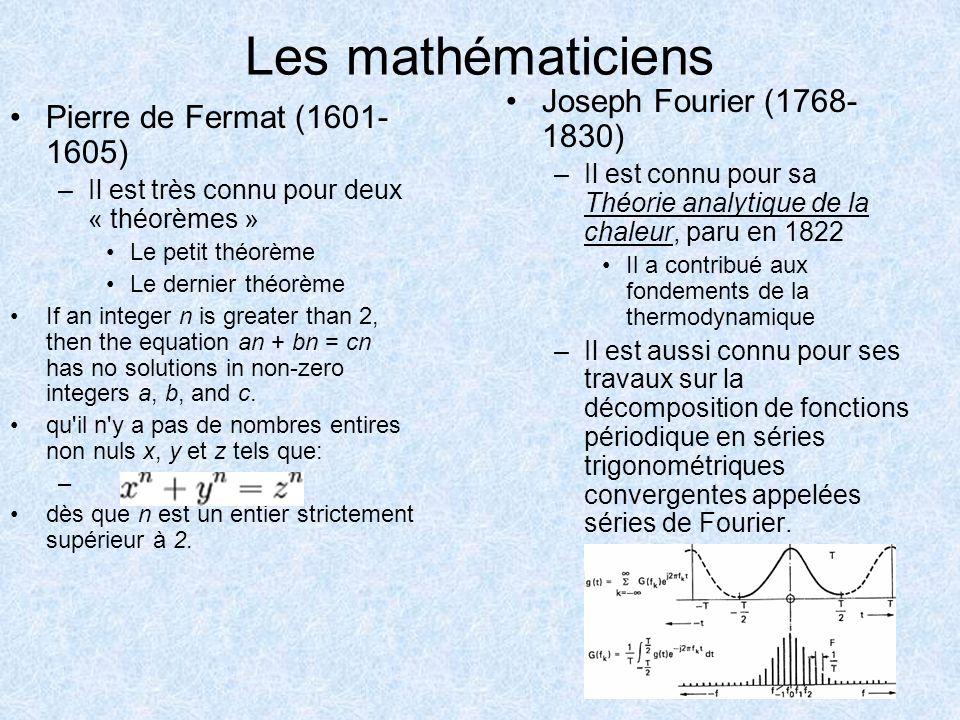 Les mathématiciens Joseph Fourier (1768-1830)