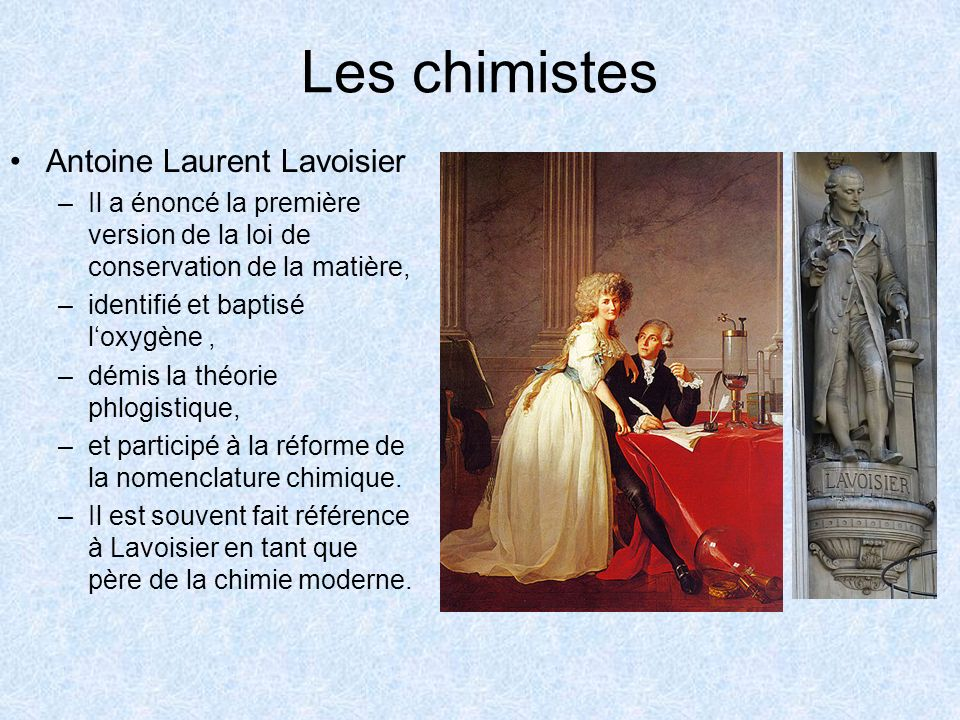 Les chimistes Antoine Laurent Lavoisier