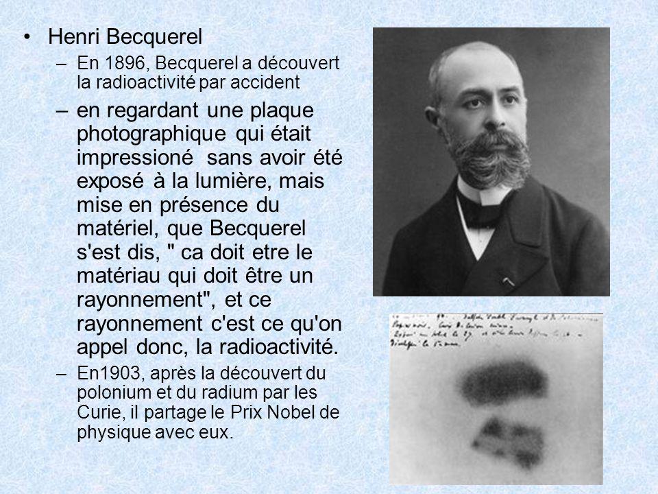 Henri Becquerel En 1896, Becquerel a découvert la radioactivité par accident.