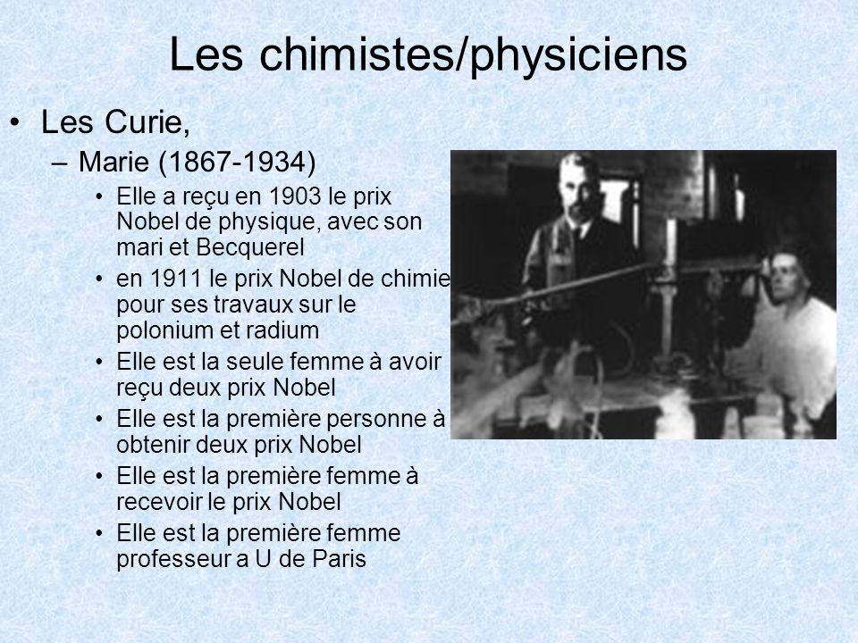 Les chimistes/physiciens