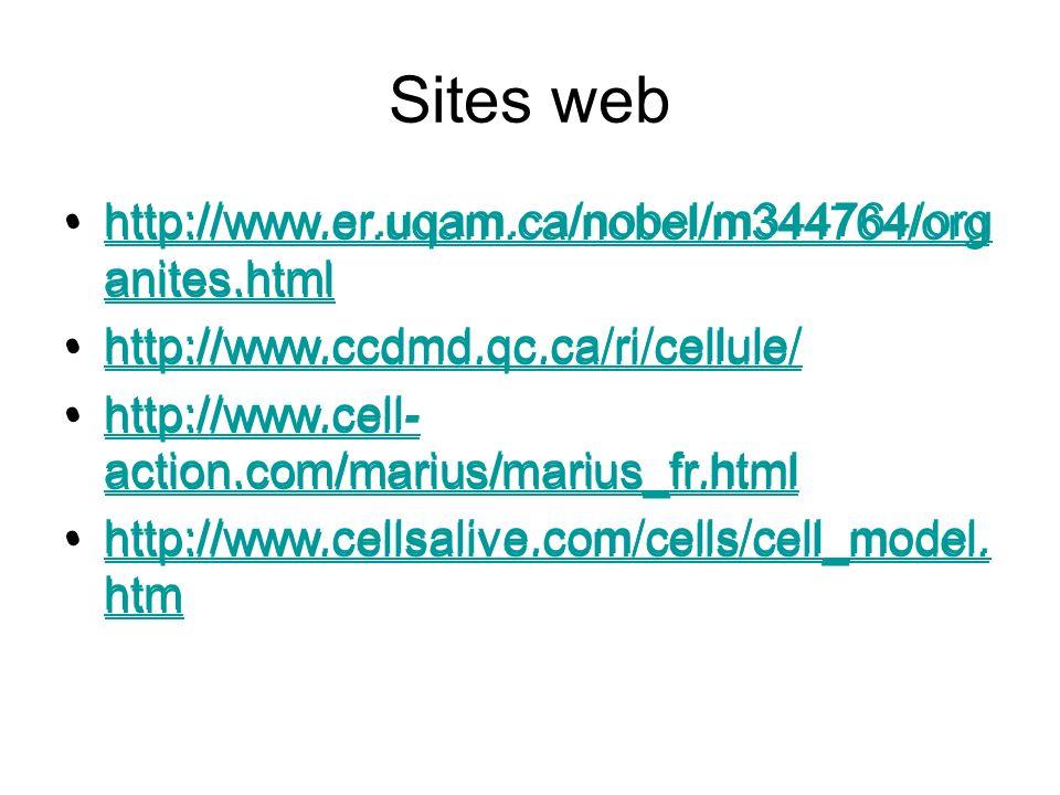 Sites web http://www.er.uqam.ca/nobel/m344764/organites.html