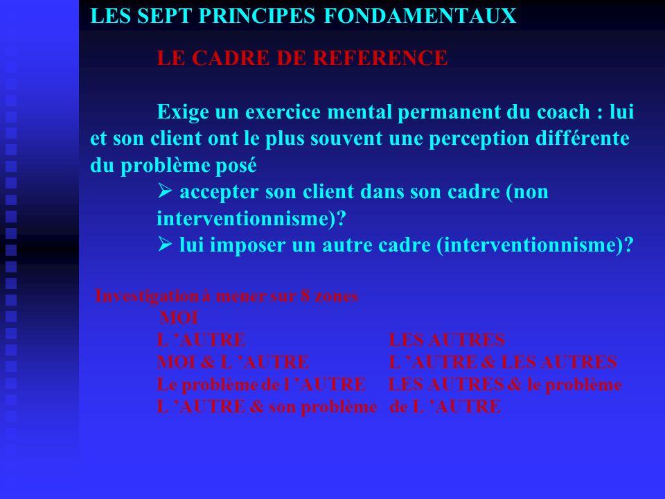 LES SEPT PRINCIPES FONDAMENTAUX. LE CADRE DE REFERENCE