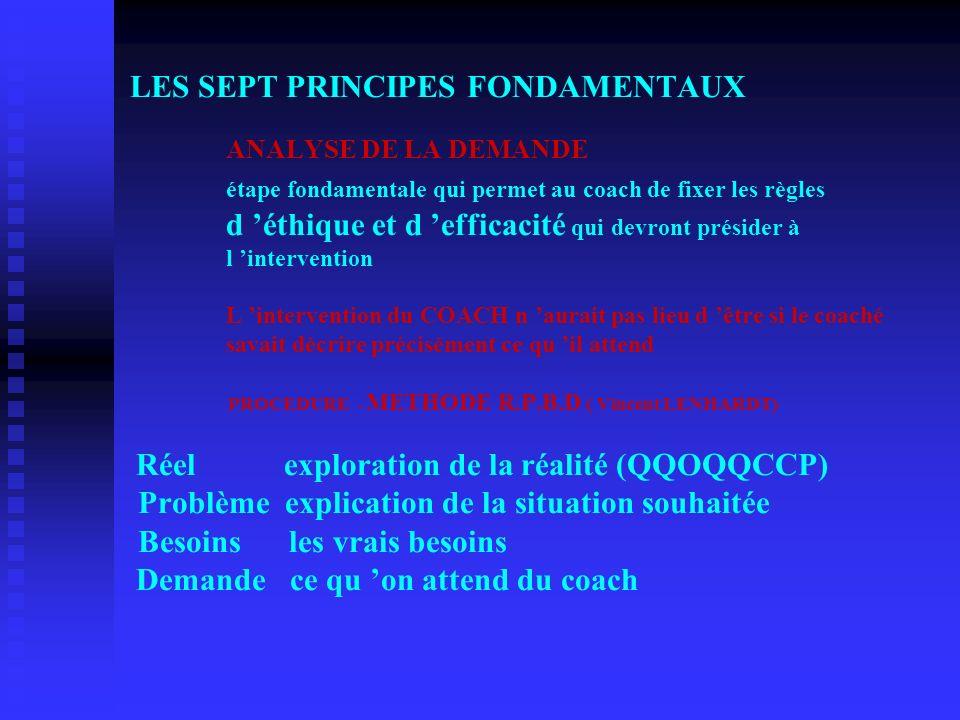 LES SEPT PRINCIPES FONDAMENTAUX. ANALYSE DE LA DEMANDE