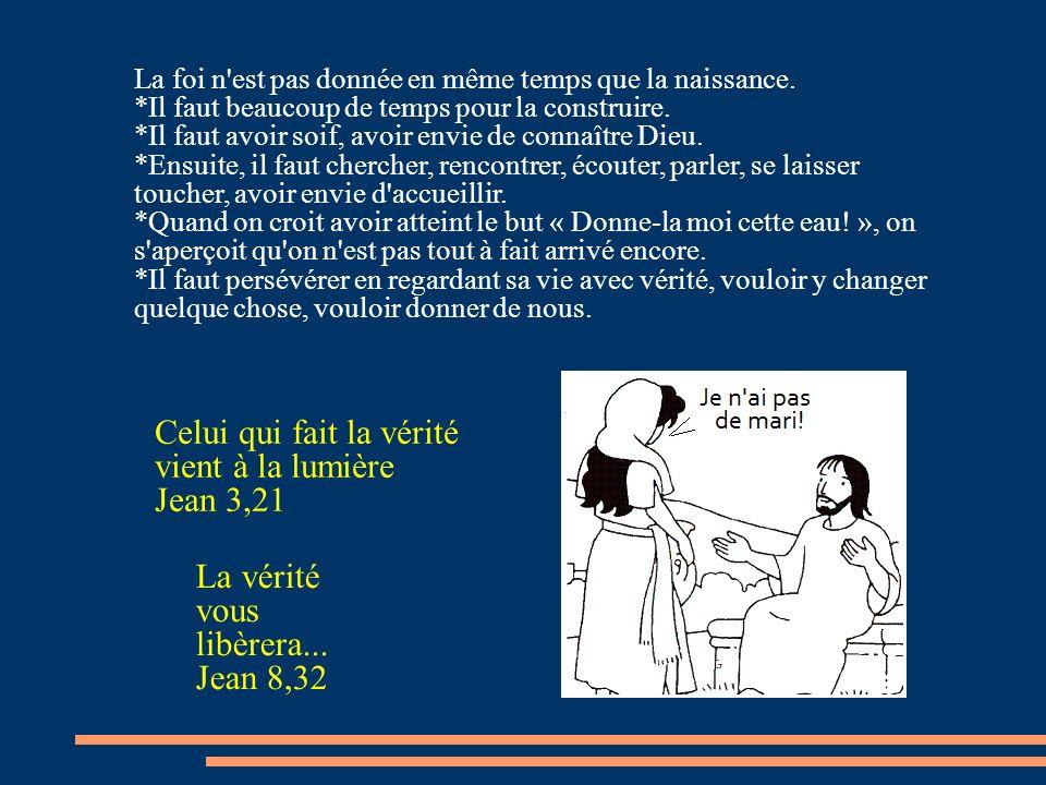 Celui qui fait la vérité vient à la lumière Jean 3,21