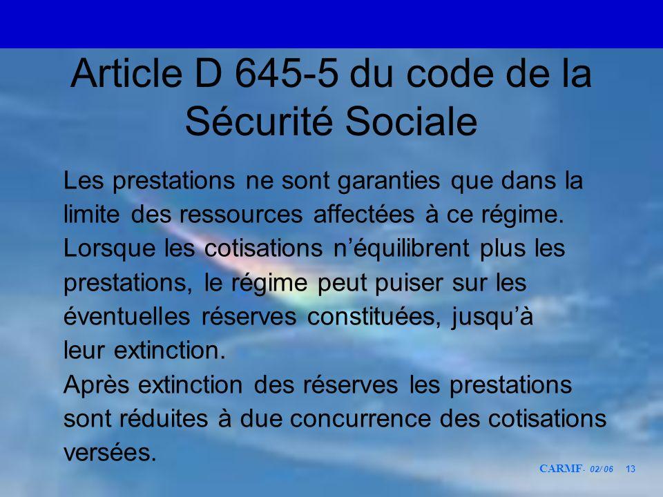 Article D 645-5 du code de la Sécurité Sociale