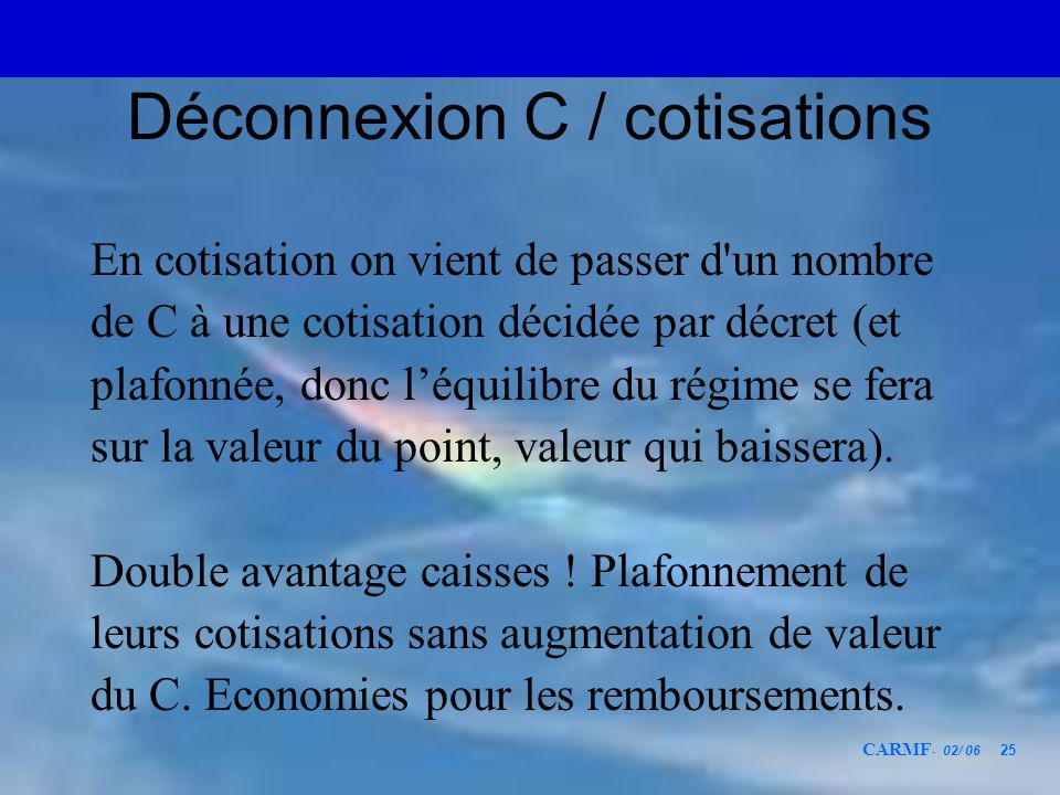 Déconnexion C / cotisations