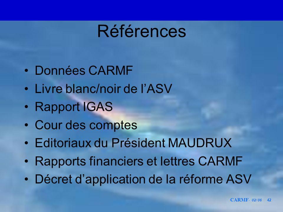 Références Données CARMF Livre blanc/noir de l'ASV Rapport IGAS