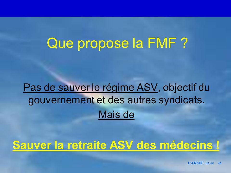 Que propose la FMF Sauver la retraite ASV des médecins !
