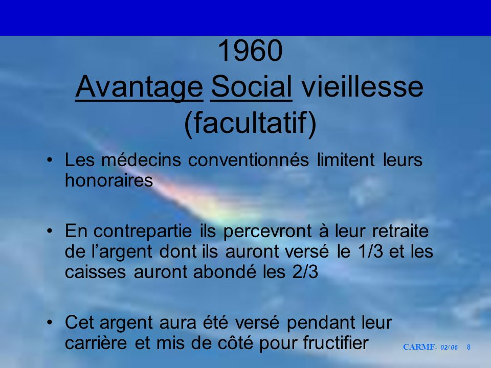 1960 Avantage Social vieillesse (facultatif)