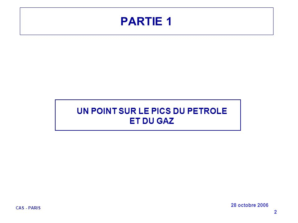 UN POINT SUR LE PICS DU PETROLE