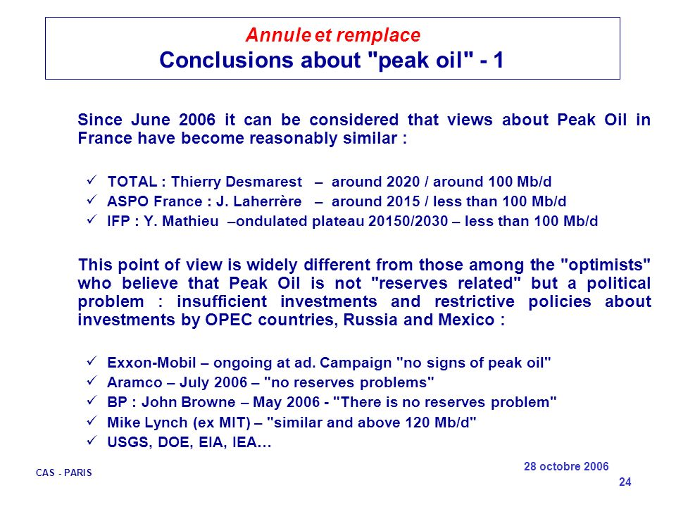 Annule et remplace Conclusions about peak oil - 1