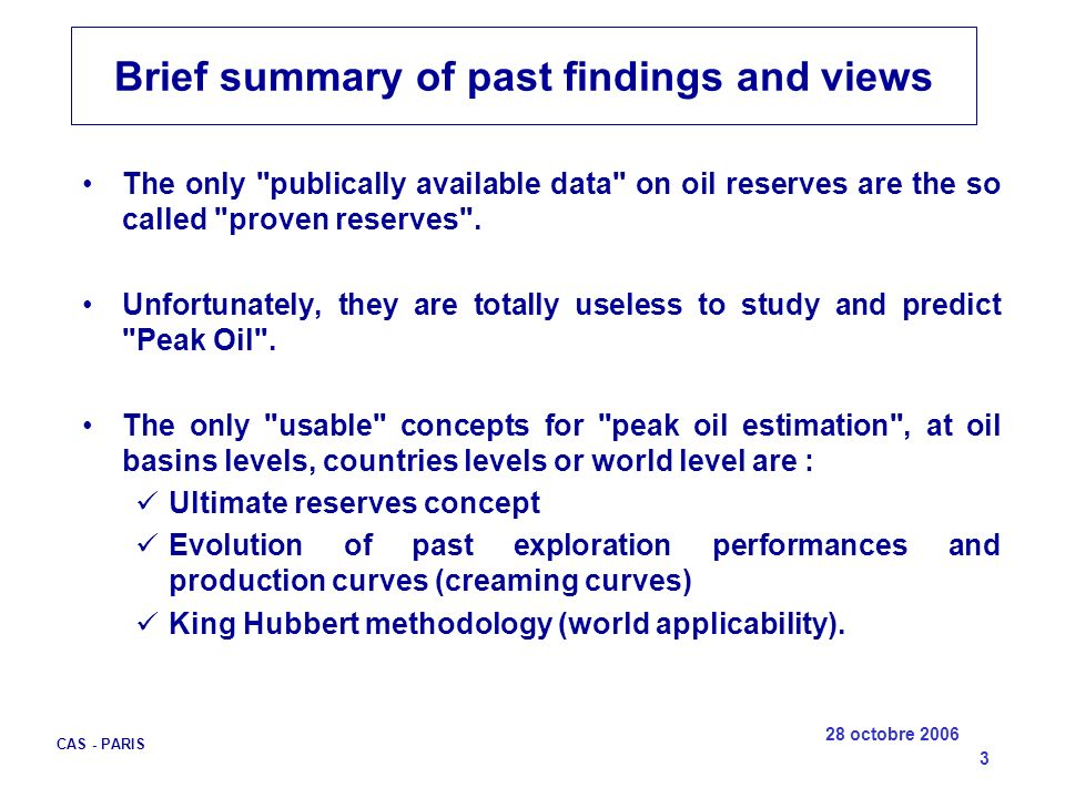 Brief summary of past findings and views