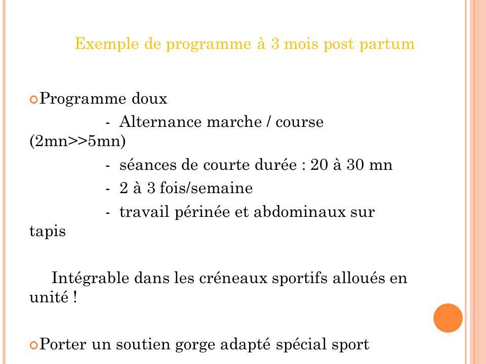 Conseils de reprise sportive apr s la grossesse chez la - Programme d entrainement sur tapis de course ...