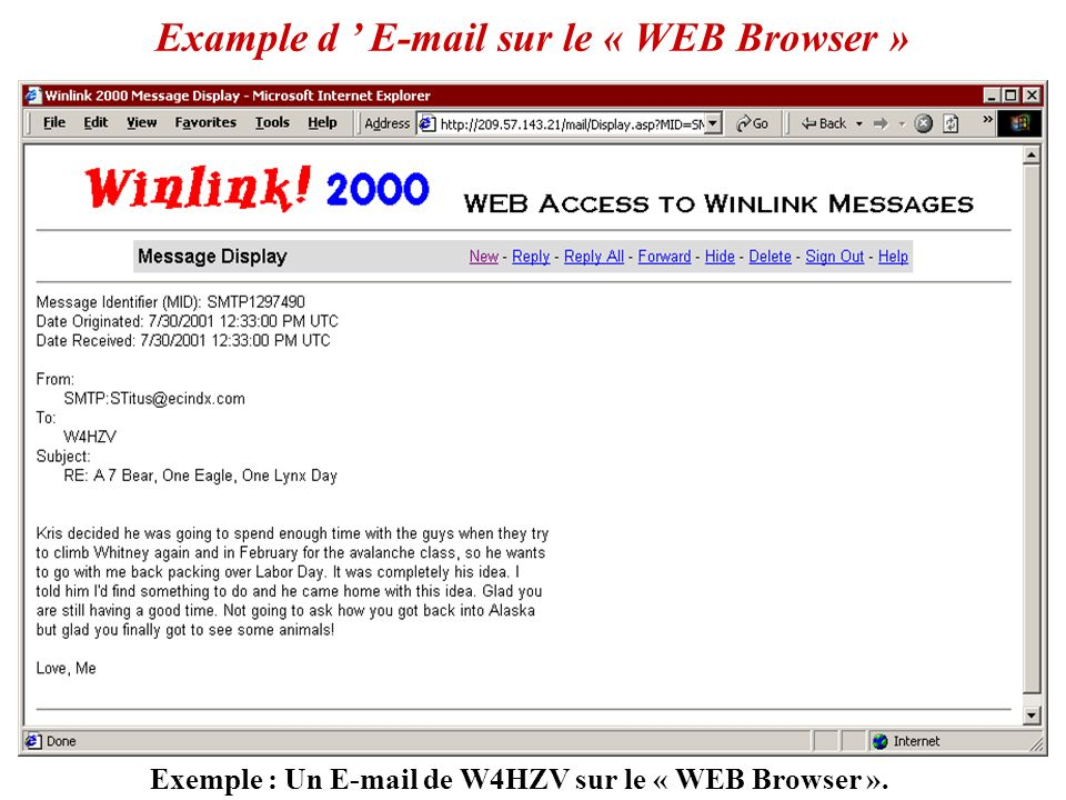 Exemple : Un E-mail de W4HZV sur le « WEB Browser ».