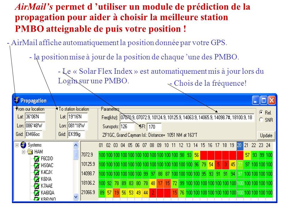 AirMail's permet d 'utiliser un module de prédiction de la propagation pour aider à choisir la meilleure station PMBO atteignable de puis votre position !