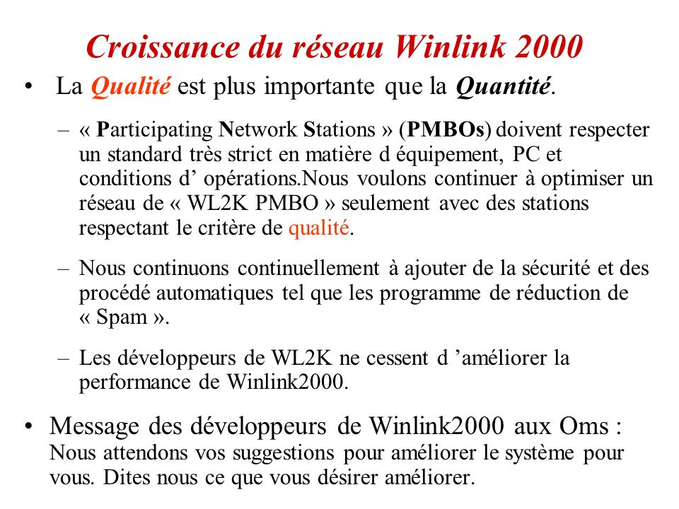 Croissance du réseau Winlink 2000