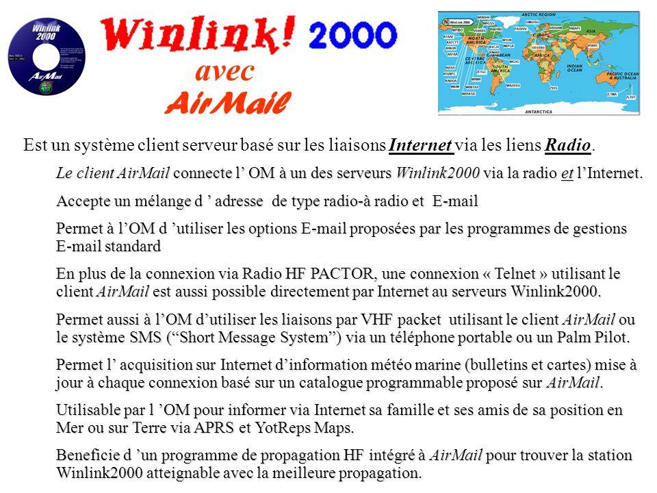 avec AirMail Est un système client serveur basé sur les liaisons Internet via les liens Radio.