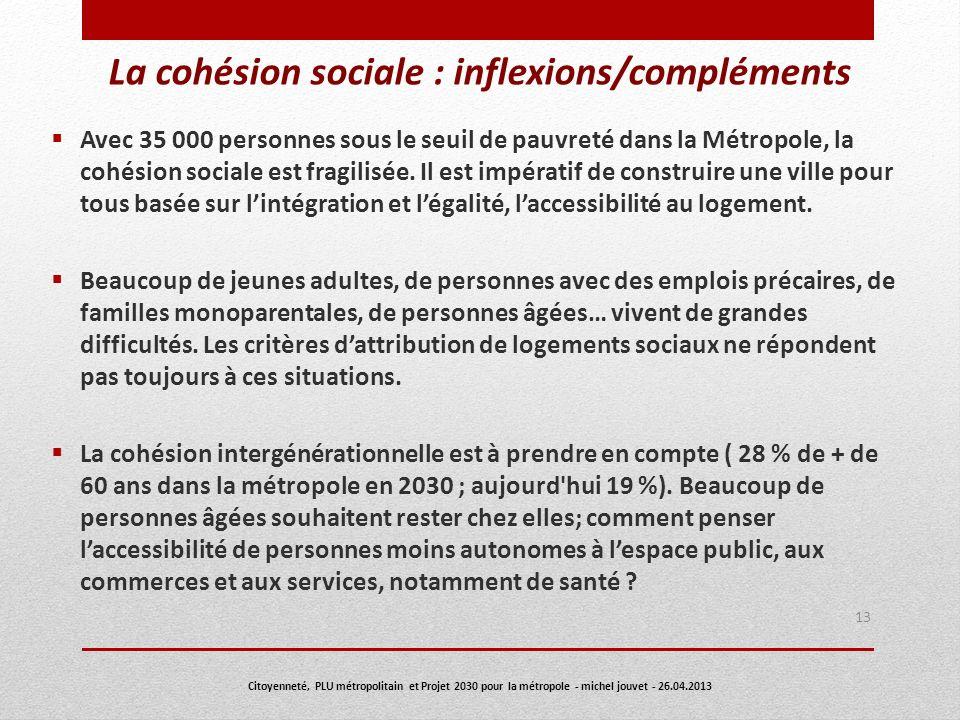 La cohésion sociale : inflexions/compléments