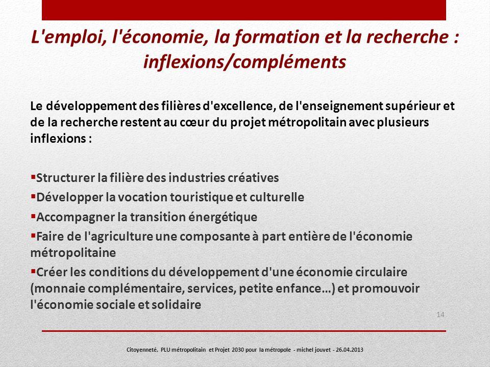 L emploi, l économie, la formation et la recherche : inflexions/compléments