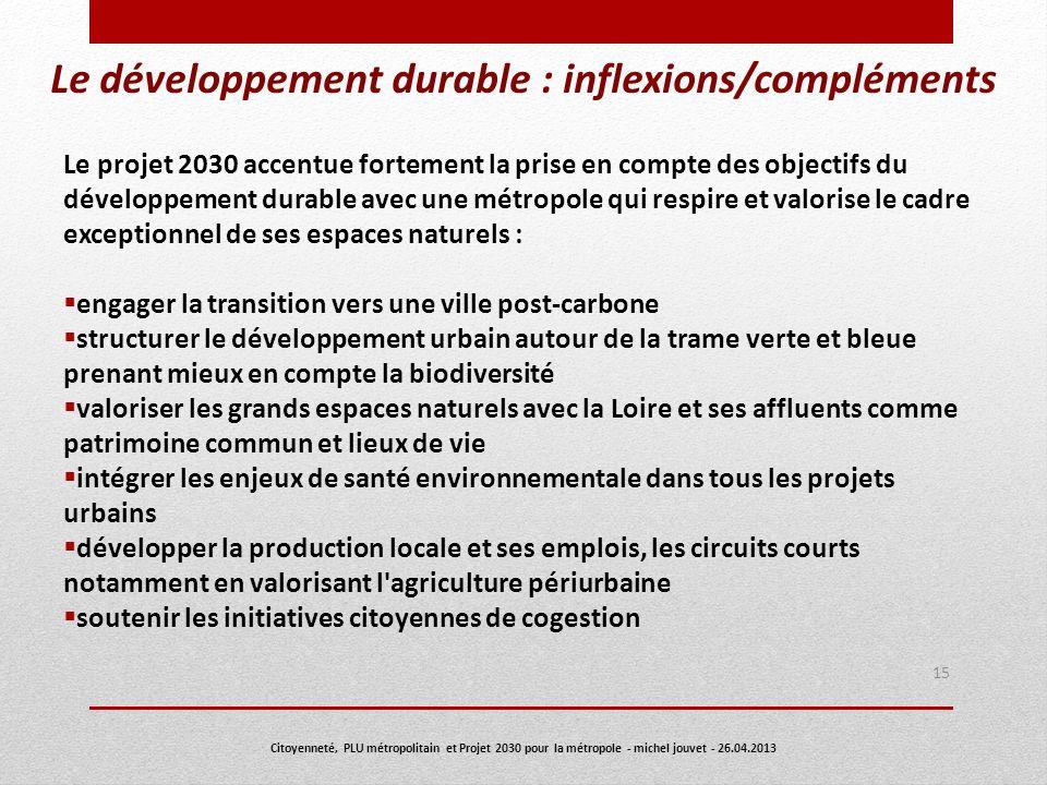 Le développement durable : inflexions/compléments