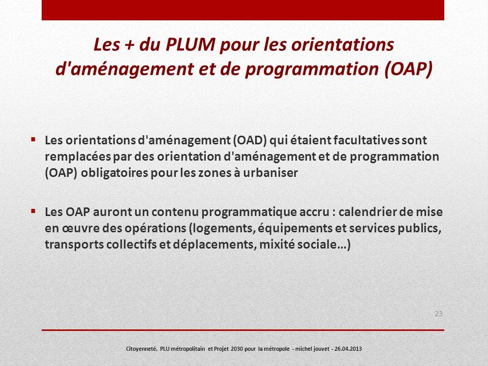 Les + du PLUM pour les orientations d aménagement et de programmation (OAP)