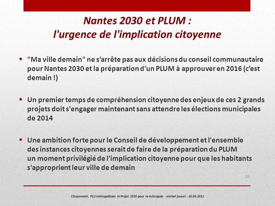 Nantes 2030 et PLUM : l urgence de l implication citoyenne