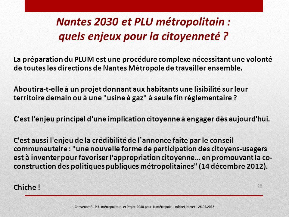 Nantes 2030 et PLU métropolitain : quels enjeux pour la citoyenneté