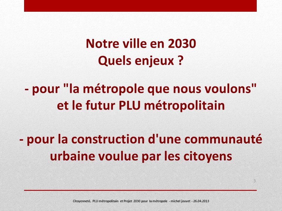 Notre ville en 2030 Quels enjeux