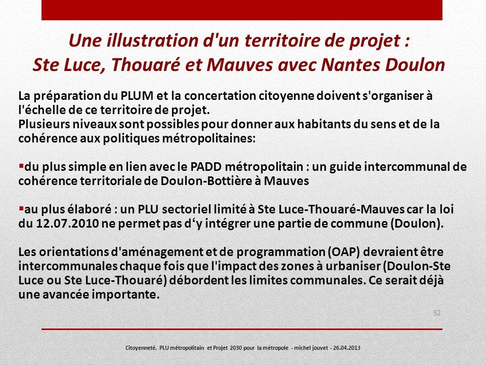 Une illustration d un territoire de projet : Ste Luce, Thouaré et Mauves avec Nantes Doulon