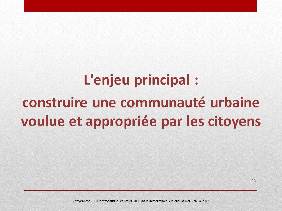 L enjeu principal : construire une communauté urbaine voulue et appropriée par les citoyens