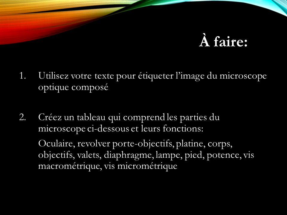 À faire: Utilisez votre texte pour étiqueter l'image du microscope optique composé.