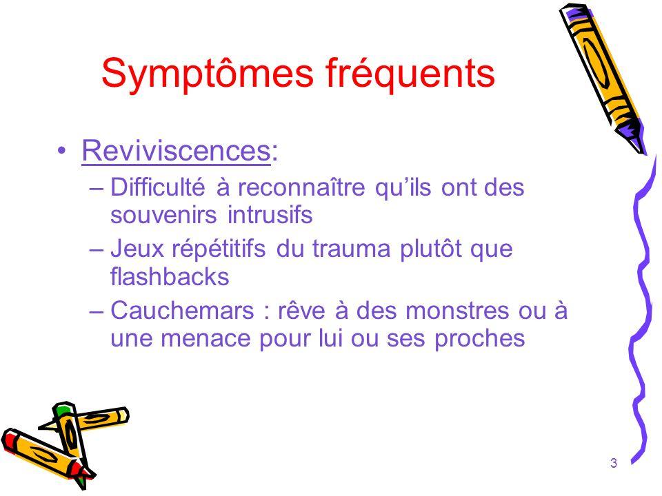 Symptômes fréquents Reviviscences: