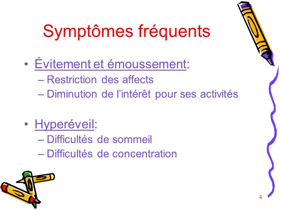 Symptômes fréquents Évitement et émoussement: Hyperéveil: