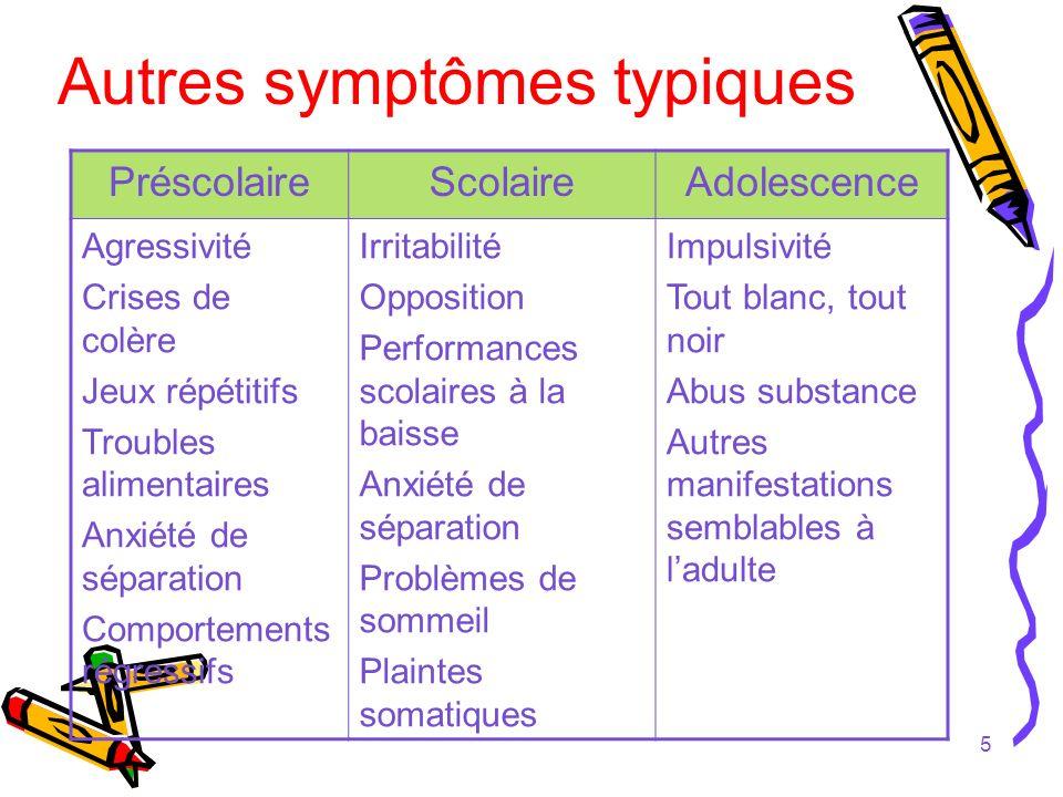 Autres symptômes typiques