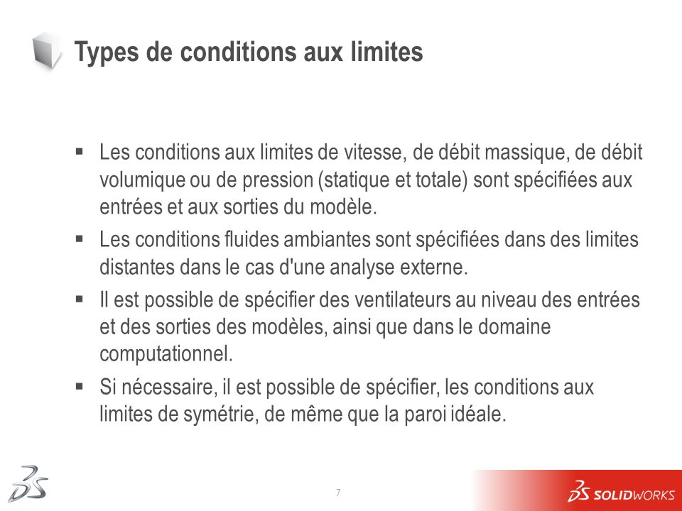 Types de conditions aux limites
