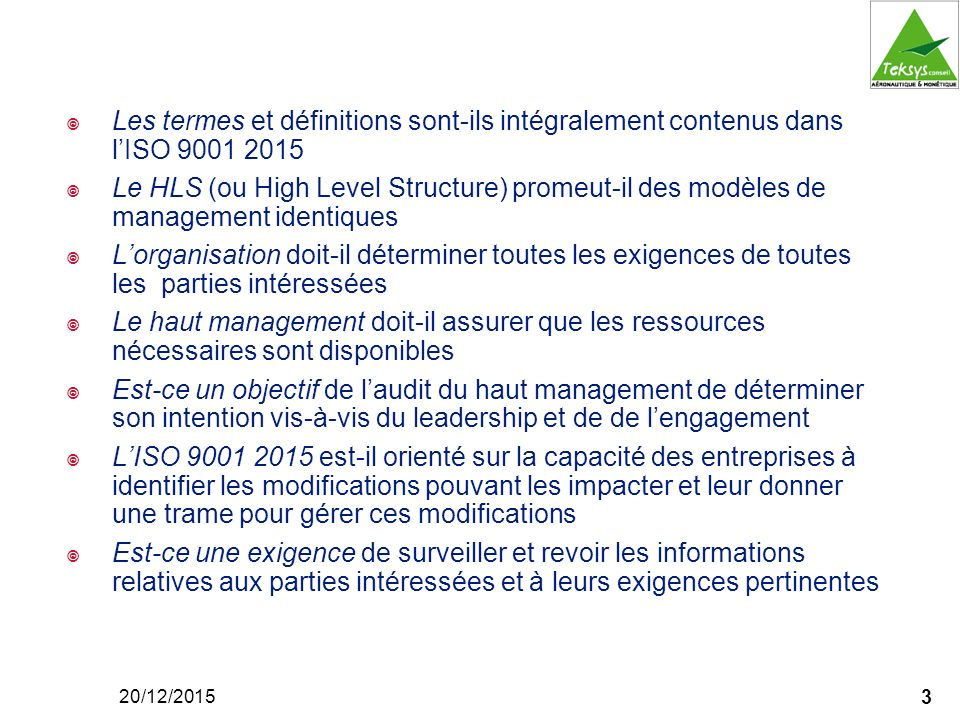 Les termes et définitions sont-ils intégralement contenus dans l'ISO 9001 2015