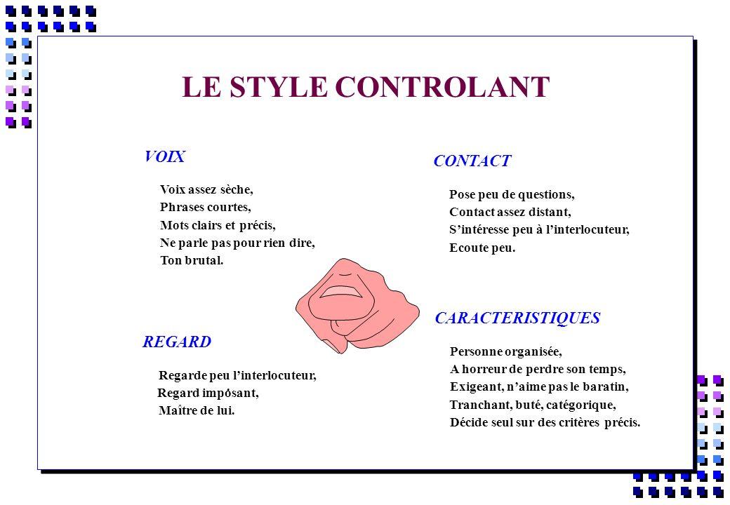 LE STYLE CONTROLANT VOIX CONTACT CARACTERISTIQUES REGARD