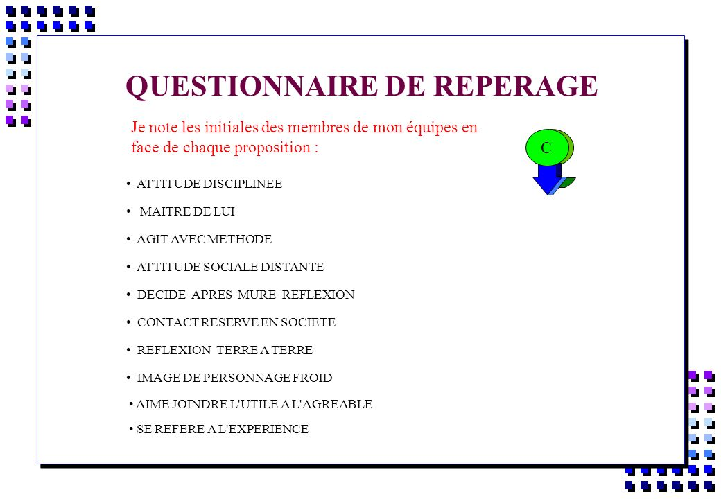 QUESTIONNAIRE DE REPERAGE