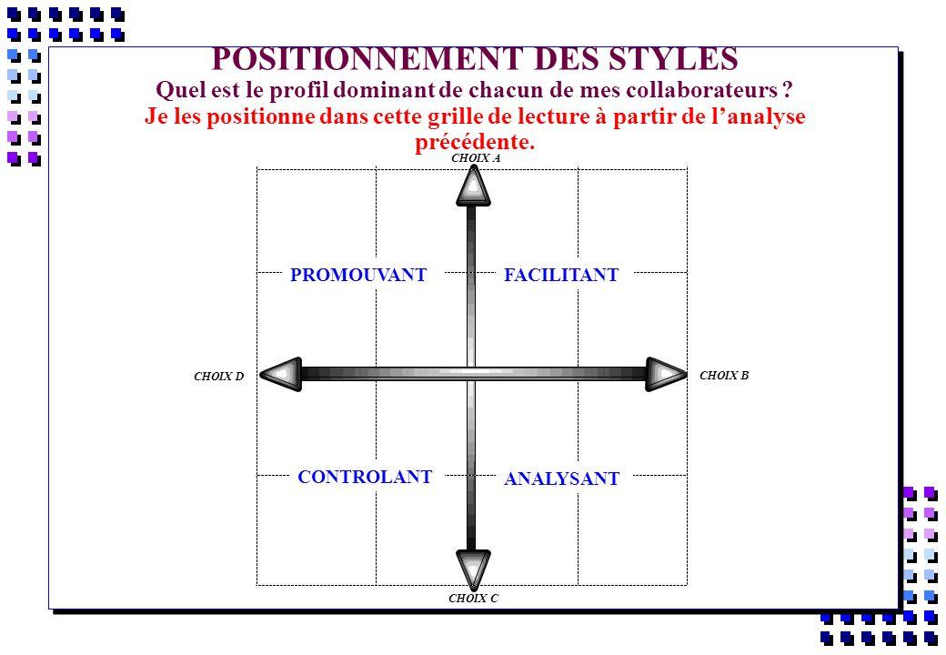 POSITIONNEMENT DES STYLES Quel est le profil dominant de chacun de mes collaborateurs Je les positionne dans cette grille de lecture à partir de l'analyse précédente.