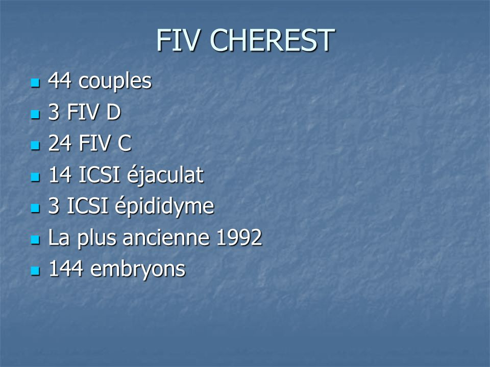FIV CHEREST 44 couples 3 FIV D 24 FIV C 14 ICSI éjaculat