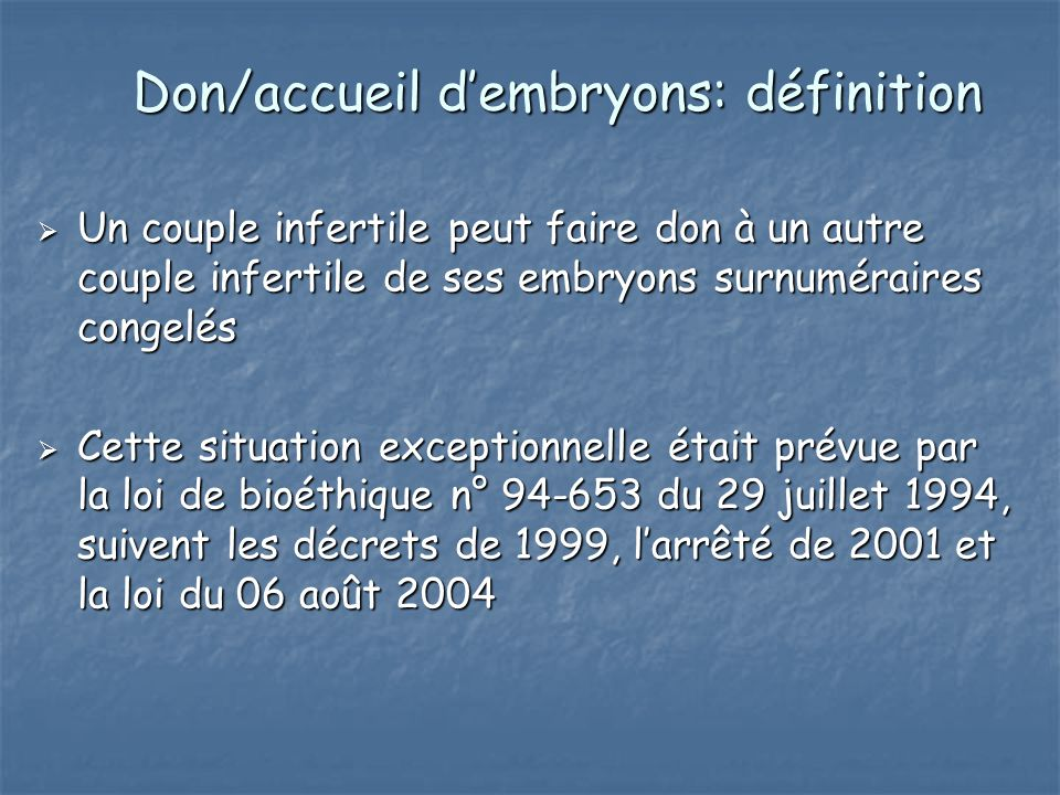 Don/accueil d'embryons: définition