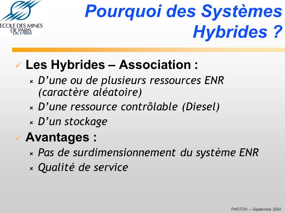 Pourquoi des Systèmes Hybrides