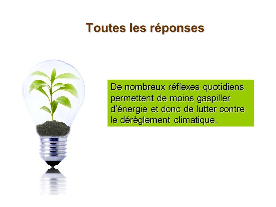 Toutes les réponsesDe nombreux réflexes quotidiens permettent de moins gaspiller d'énergie et donc de lutter contre le dérèglement climatique.