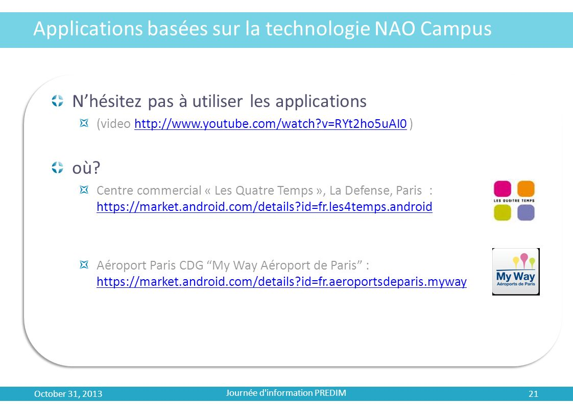 Applications basées sur la technologie NAO Campus