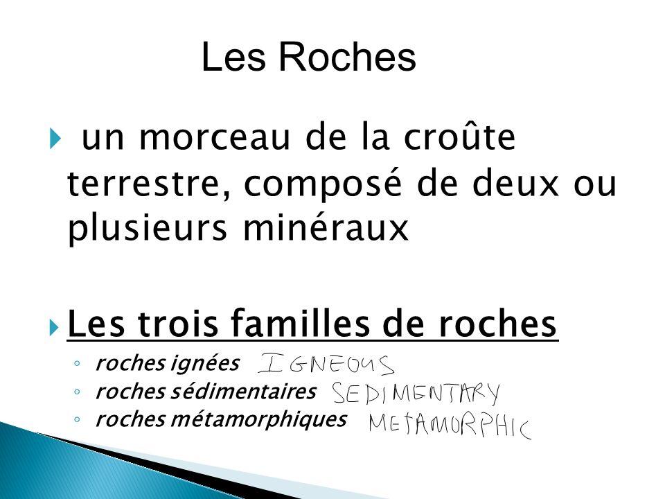 Les Roches un morceau de la croûte terrestre, composé de deux ou plusieurs minéraux. Les trois familles de roches.